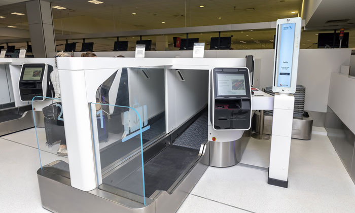 Qantas Airways Check In Kiosks At Sydney Airport with Biometrics