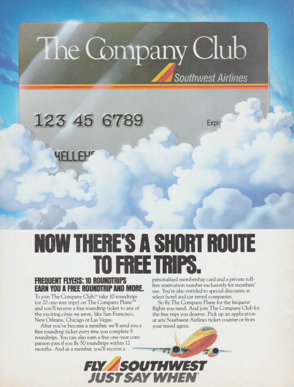 Southwest Airlines Company Club 1987 Advertisemen