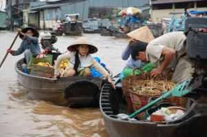 Small floating market stalls