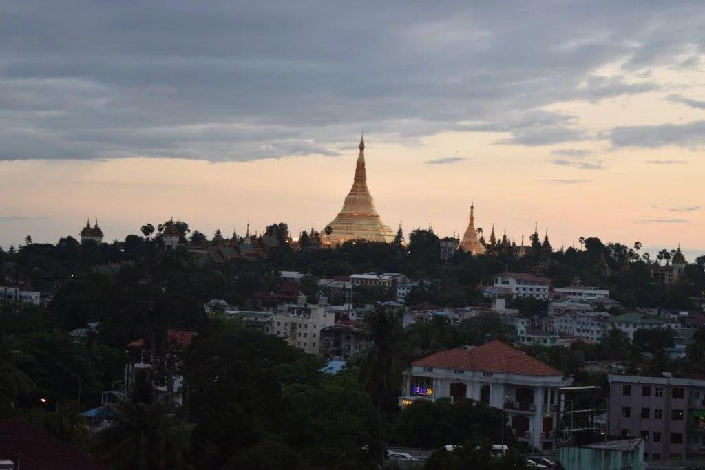 Shwedagon Pagoda in the skyline of Yangon