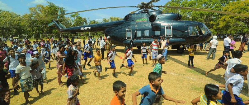 One of the private helicopters Zoe arranged on a previous trip