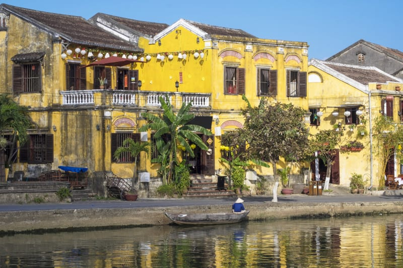 Hoi An colored buildings.