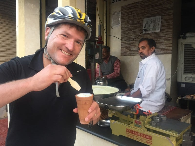 Robin trying street food in Jaipur