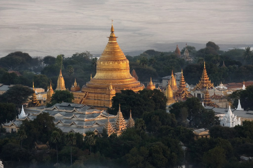 Early morning aerial view of the Shwezigon Pagoda near the Irrawaddy River in Bagan in Myanmar (Burma).