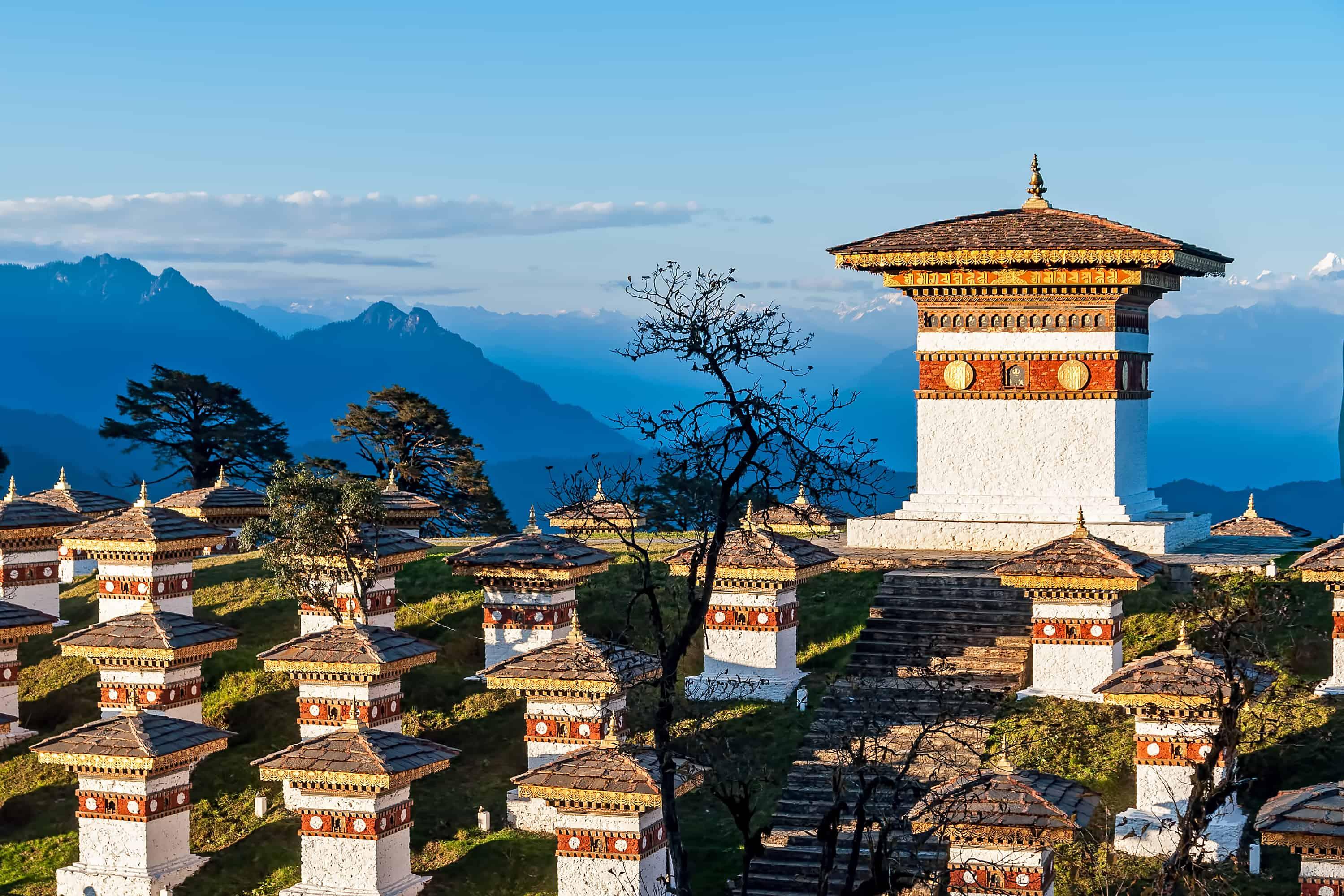 Sunset Dochula Pass Memorial Chortens in Bhutan