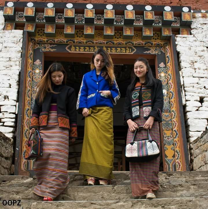 Women wearing national dress in Bhutan