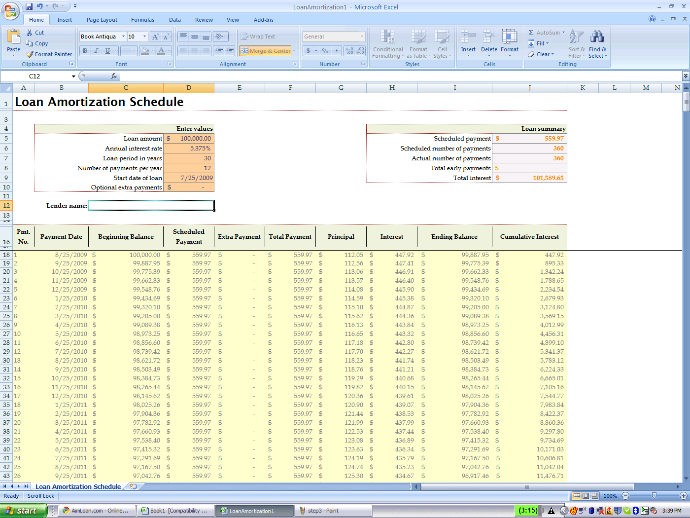 Using Excel S Built In Amortization Table