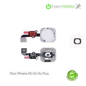 Bouton HOME pour iPhone 6S argent (compatible iPhone 6S Plus)