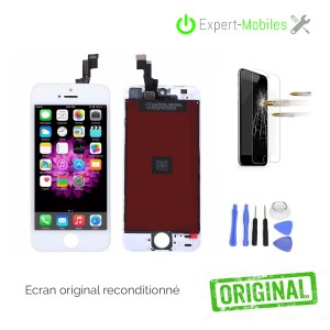 Ecran LCD + VITRE TACTILE iPhone 5s NOIR OU BLANC reconditionné LCD original apple