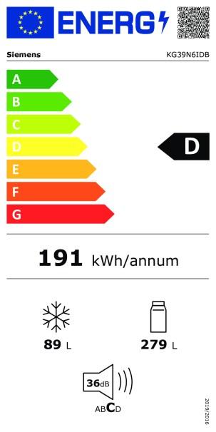 Siemens iQ300 KG39N6IDB 279 l / 89 l Kühl-Gefrierkombi freistehend EEK: D 191 kWh Jahr von expert Technomarkt