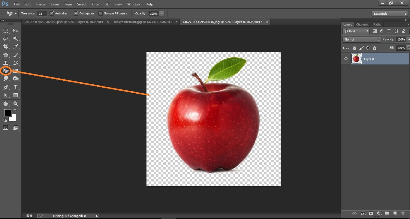 How to create very simple way effect apple – in Photoshop