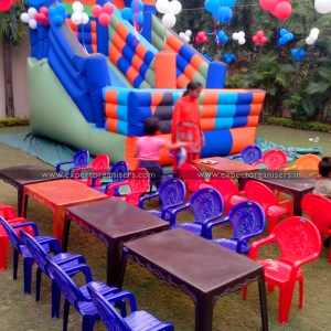 Kids table chairs and Bouncy on rent in Chandigarh