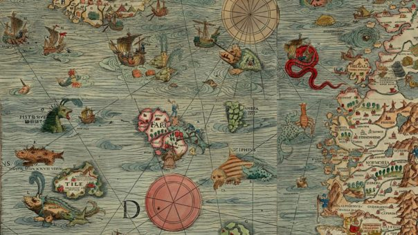 Image of the Carta Marina map, featuring a variety of sea creatures