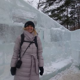 Haha carefully braced and standing on ice.
