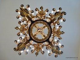 Below one of the chandeliers :)