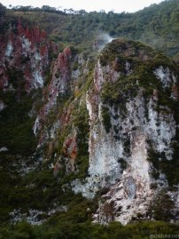 The rocks above Crater Lakes, Rainbow Mountain.