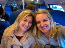 On the train back to Brussels - two tired but happy girls!