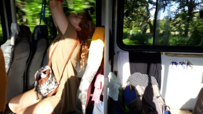 Anouk hangs up our washing in the bus--we're classy ladies.