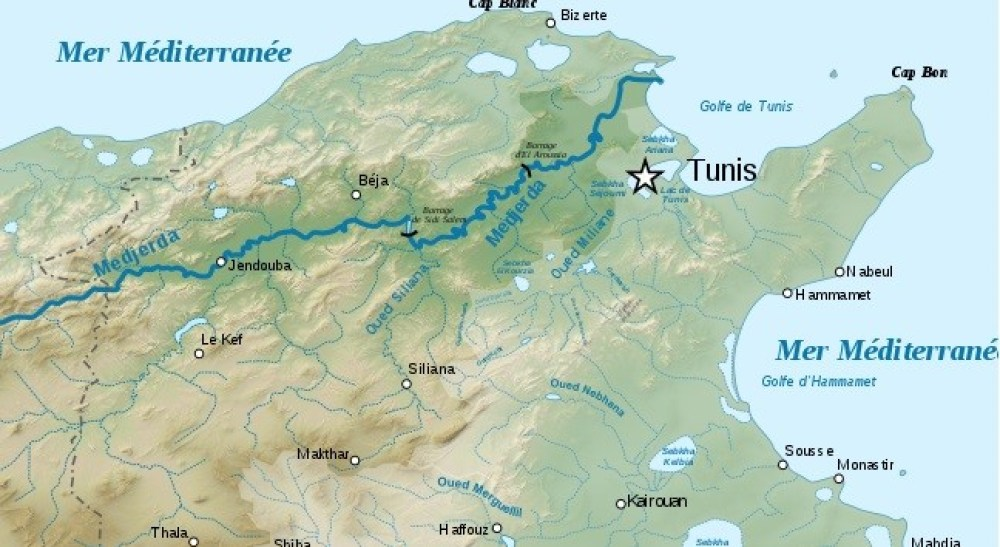 carte descente de Oued Medjerda