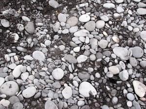 stones on black beach