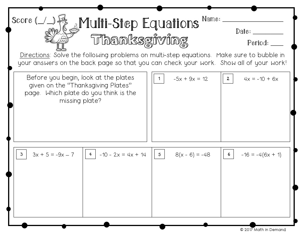 Multi Step Equations Activity
