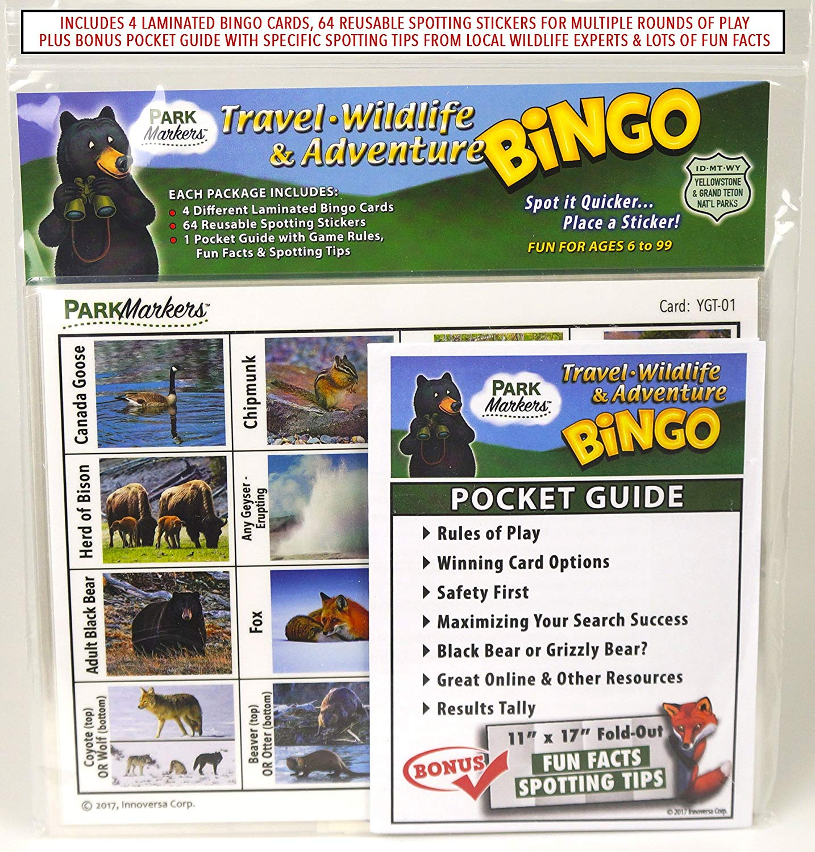 car travel bingo wildlife spotting game