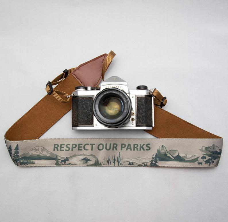 national park gift for photographer camera strap