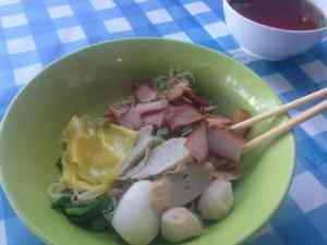 Bowl of noodles with meat Thailand