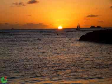 Sunset on the ocean in Hawaii