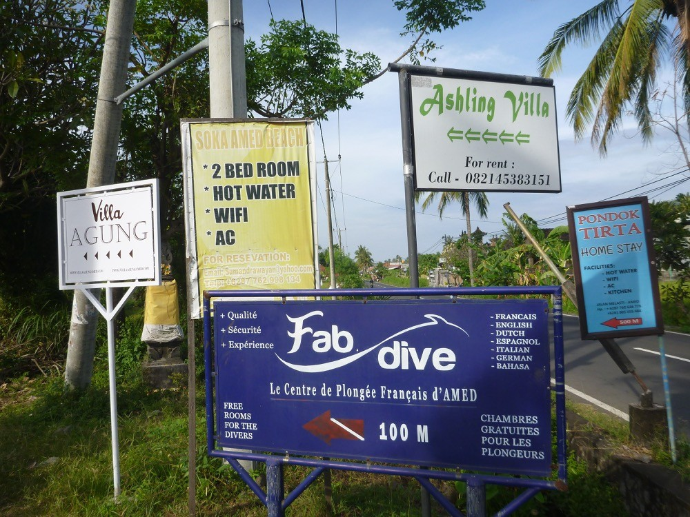 Signs for hotels in Bali Indonesia