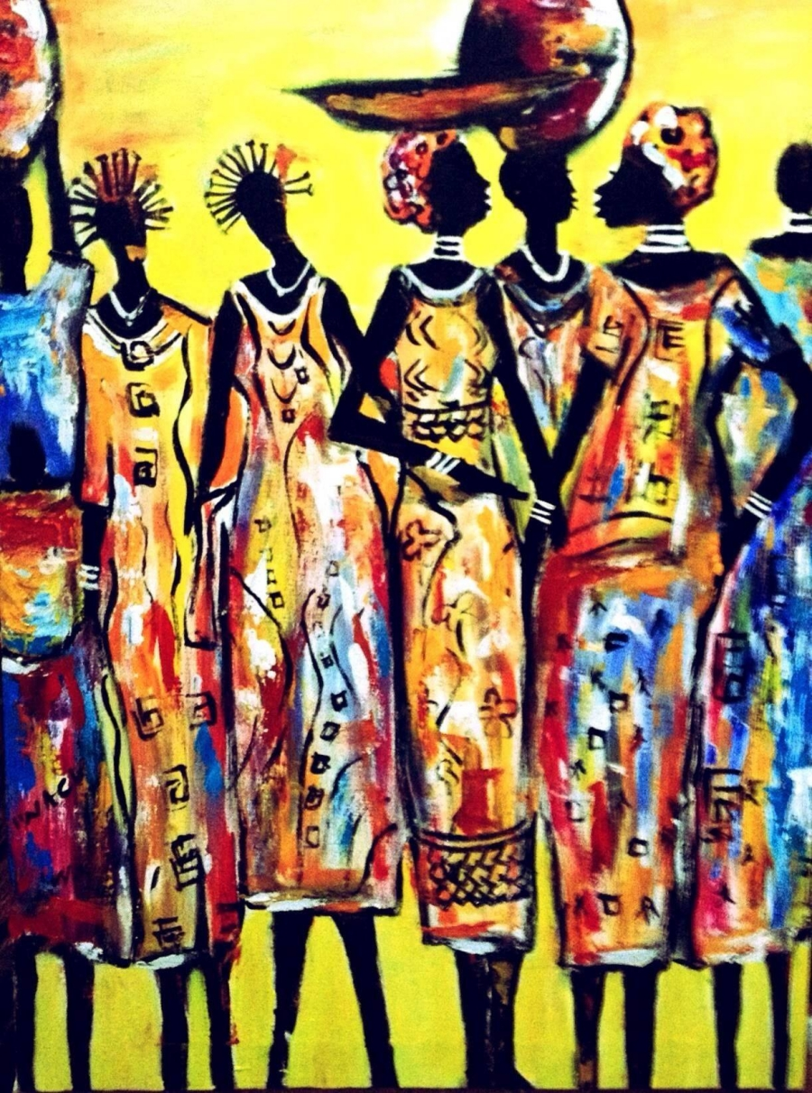 Painted woman from Rwanda by local artist