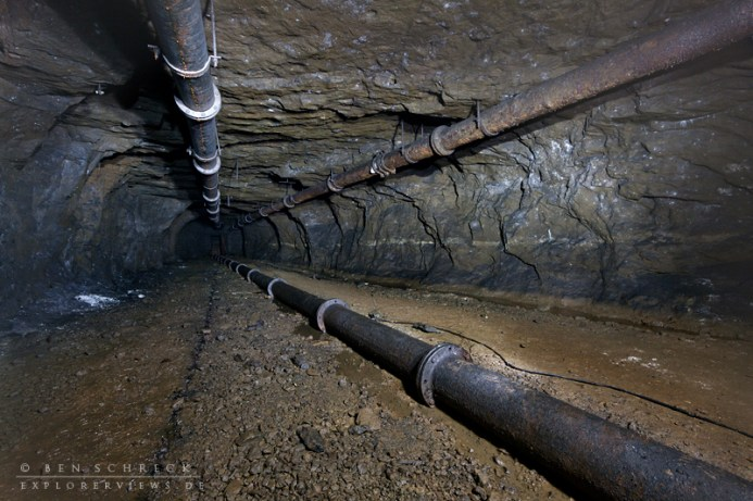 water pipes in a coal mine