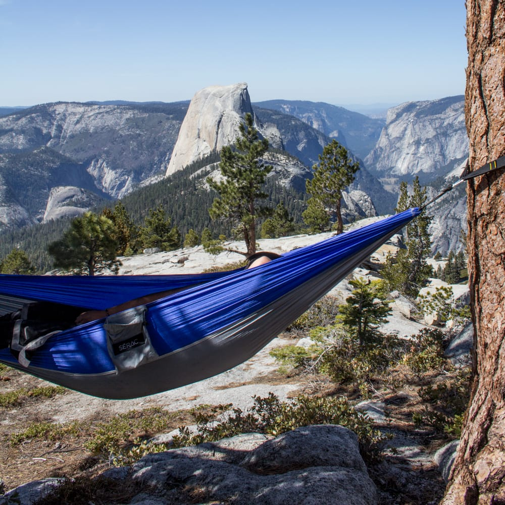 Hammock camping over sloped and rocky terrain. somewhere a tent can never be set up