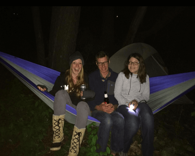 3 people testing out the weight limit for a customer review on serac ultralight camping hammock