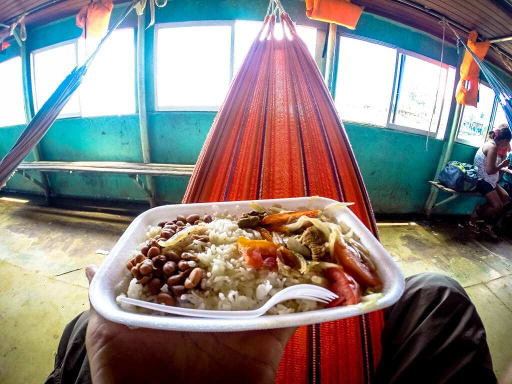 eating lunch in a hammock