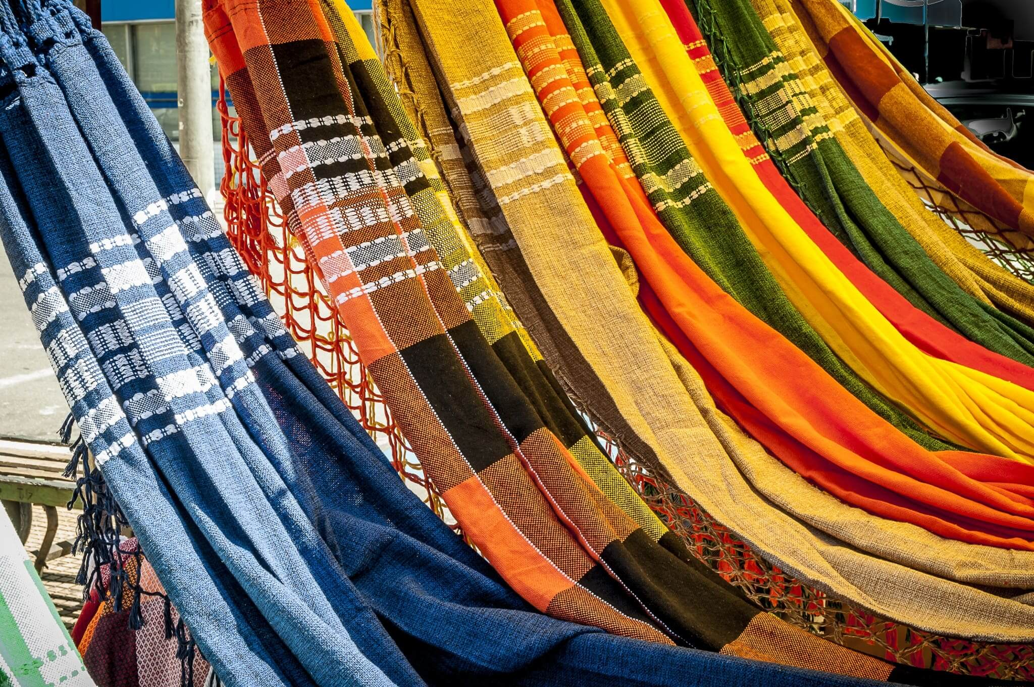 mayan style of hammocks made with cotton clothe