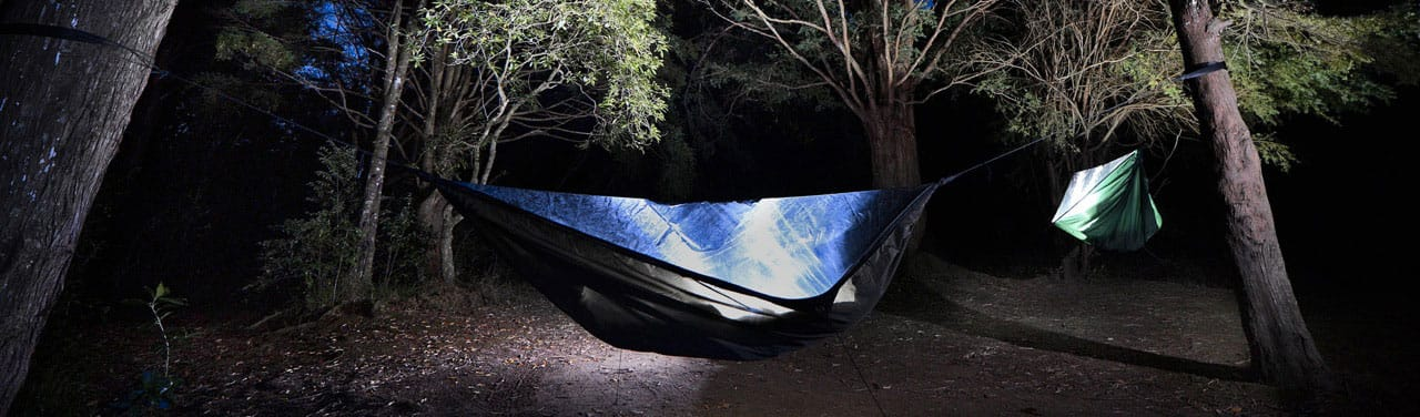 Camping Hammocks with a built-in mosquito net covering the top half. Photo by Melissa Nickerson