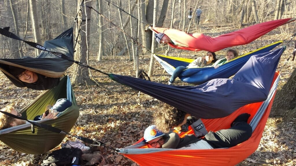Many people hammocking together