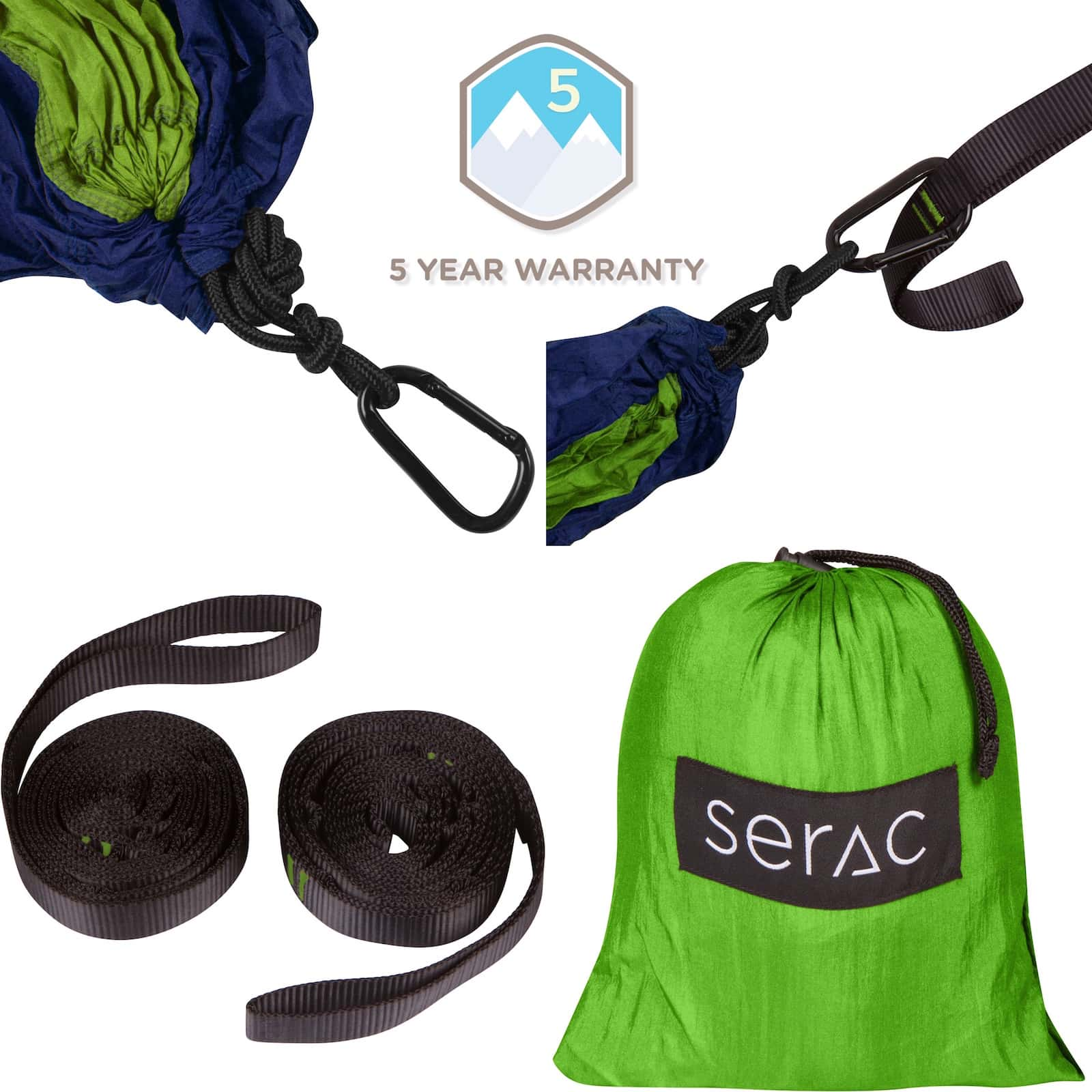 serac classic camping hammock forest stream color with 5 year unlimited warranty