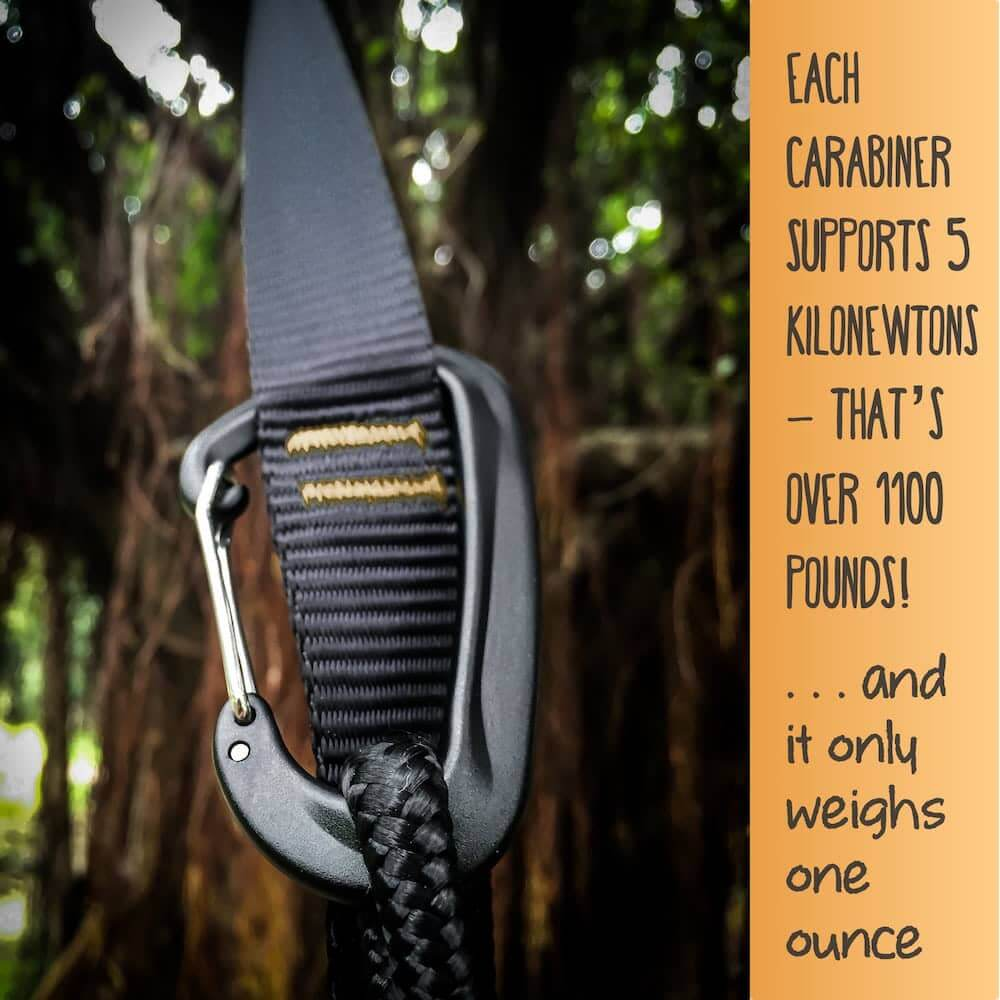 Serac sequoia double ultralight hammock carabiners and tree straps