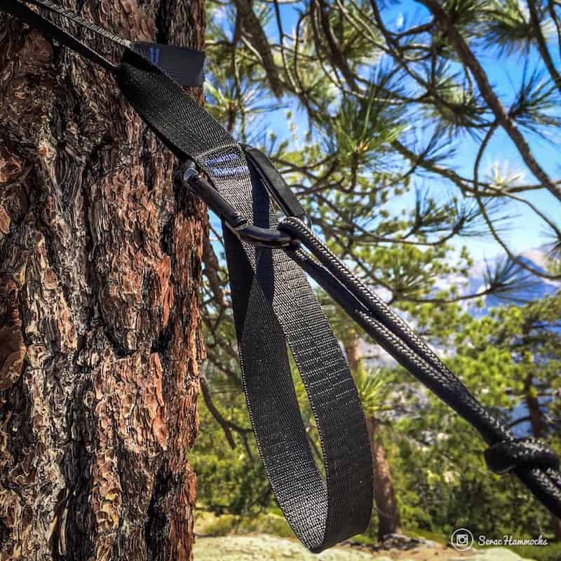 Serac classic lightweight camping hammock carabiners and tree straps