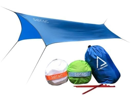 Serac overhang lightweight raintarp with guy lines, ridgelines, stakes and carabiners rainfly