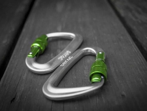 serac hammock ultralight aluminum lockgate screwing carabiner green