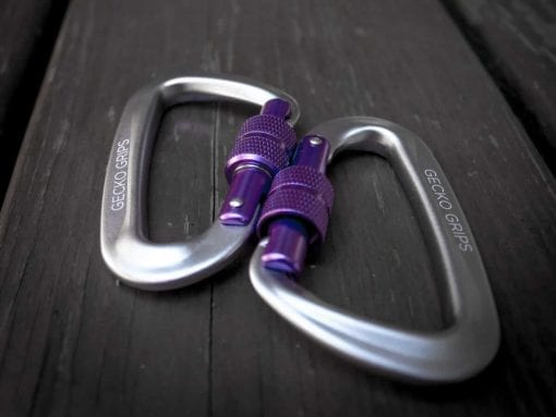 serac hammock ultralight aluminum lockgate screwing carabiner purple