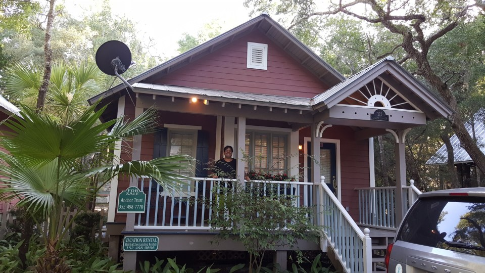 Front view of our honeymoon cottage at Steinhatchee Landing Resort