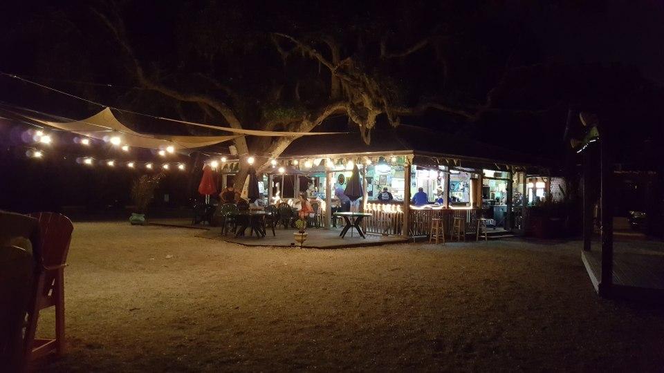 Night time scene at Miss Vicki's on the River at the marina in Tarpon Springs, FL