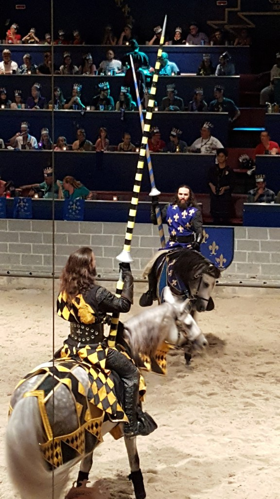 Two champions jousting at Medieval Times Dinner Theater as listed in Things to do in Orlando for Families