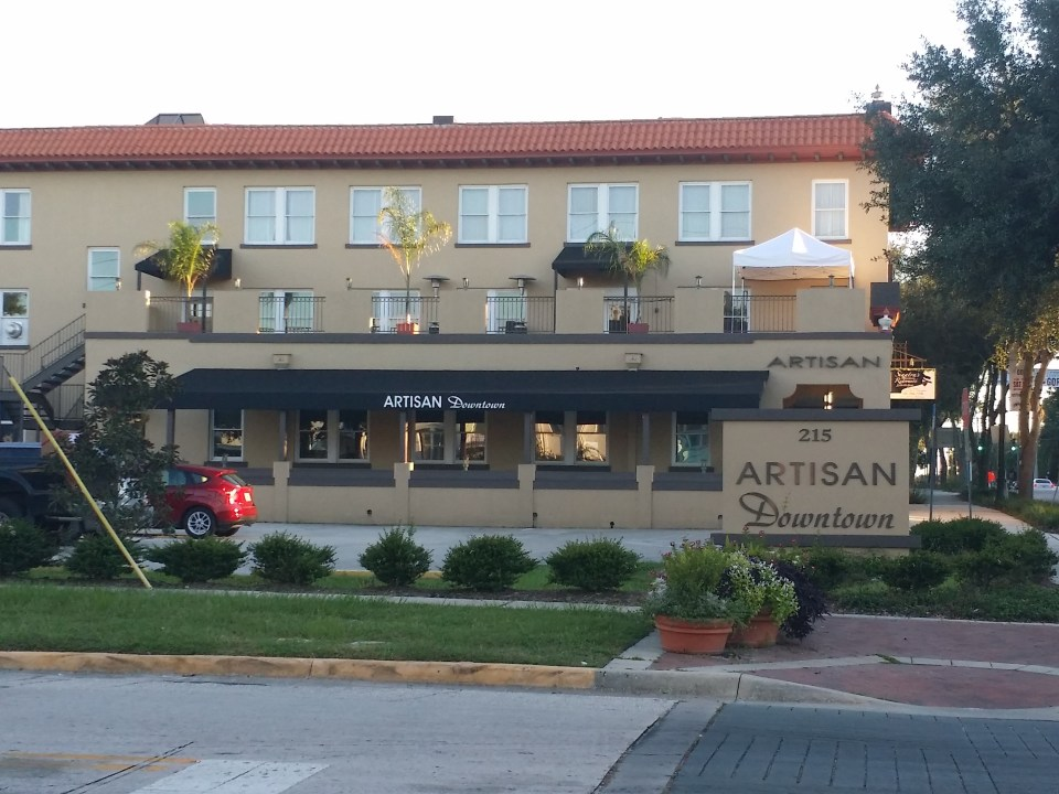 Shows the front of the Artisan Inn as discussed in our road trip guide