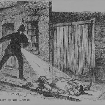 sketch of policeman finding first victim of Jack the Ripper