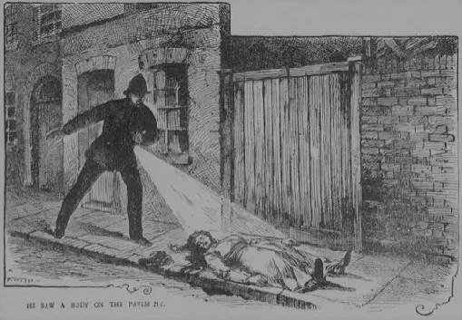 Jack the ripper murder scene sketch of a policeman finding MaryAnn Nichols